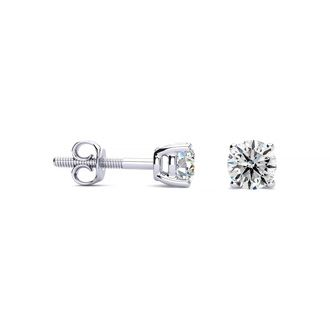 1/2ct E-F Colorless Diamond Stud Earrings in 14k White Gold