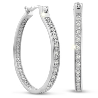Platinum Plated 1/4 Carat Diamond Hoop Earrings, Perfect Gift!