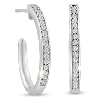 1/4ct Diamond Hoop Earrings