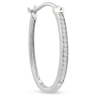 1/4ct Diamond Oval Hoop Earrings