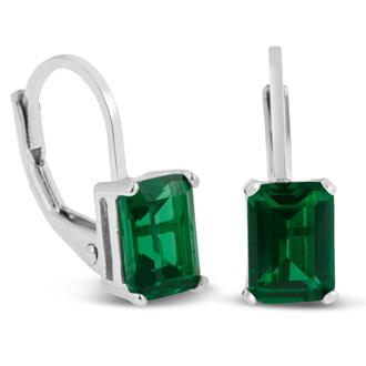 2 Carat Created Emerald Leverback Earrings