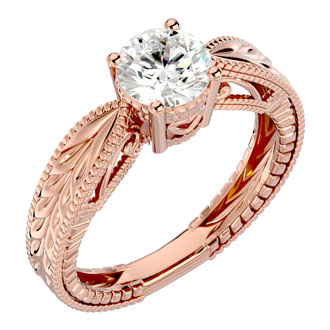 1 Carat Diamond Solitaire Engagement Ring with Tapered Etched Band In 14 Karat Rose Gold