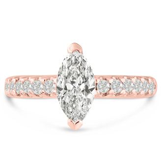 1 1/3ct Marquise Shaped Diamond Engagement Ring Crafted in 14 Karat Rose Gold