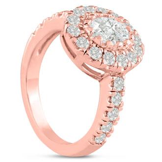 1 3/5 Carat Oval Halo Diamond Engagement Ring in 14 Karat Rose Gold