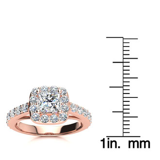 2ct Princess Cut Halo Diamond Engagement Ring Crafted in 14 Karat Rose Gold