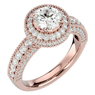 2 1/2 Carat Halo Diamond Engagement Ring In 14 Karat Rose Gold