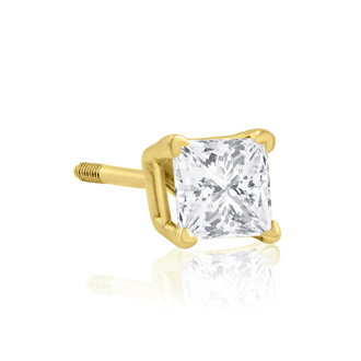 1/2ct Princess Diamond Stud Earrings G/H Color SI3/I1 Clarity
