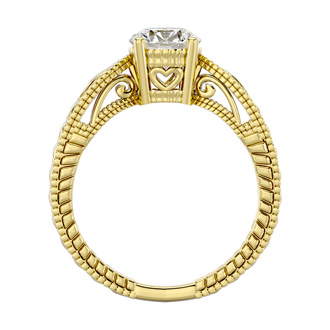 1 Carat Solitaire Diamond Engagement Ring with Tapered Etched Band In 14K Yellow Gold