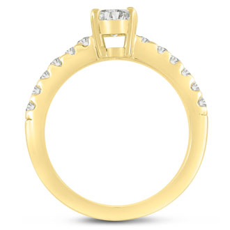 1 1/3 Carat Oval Shape Diamond Engagement Ring Crafted in 14 Karat Yellow Gold