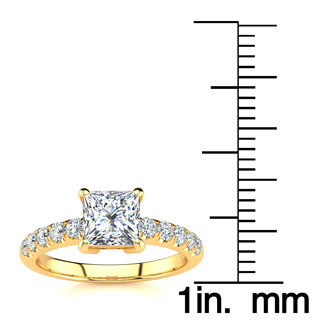 1 2/5ct Princess Cut Diamond Engagement Ring Crafted in 14 Karat Yellow Gold