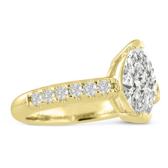 1 1/3 Carat Marquise Shape Diamond Engagement Ring In 14 Karat Yellow Gold