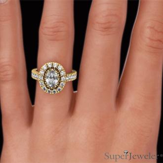 1 3/5 Carat Oval Halo Diamond Engagement Ring in 14 Karat Yellow Gold