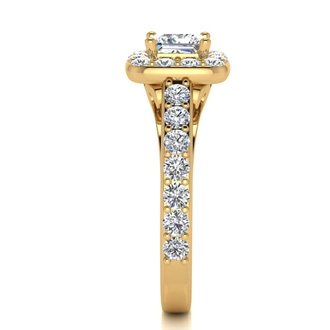 2 Carat Halo Diamond Engagement Ring in 14 Karat Yellow Gold
