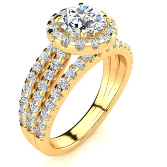 2 Carat Round Halo Diamond Engagement Ring in 14 Karat Yellow Gold