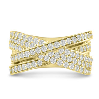 1 3/4ct Five Row Criss Cross Diamond Ring in 14 Karat Yellow Gold