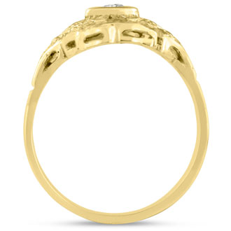 1/10 Carat Cathedral Diamond Ring In 14 Karat Yellow Gold