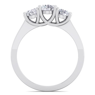 1 Carat Three Diamond Ring Crafted In 14 Karat White Gold