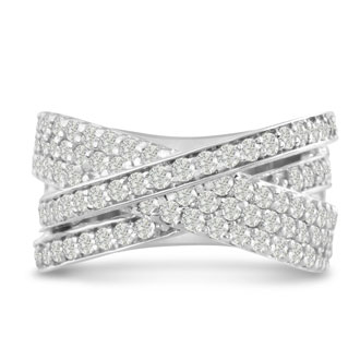 1 3/4ct Five Row Criss Cross Diamond Ring in 14 Karat White Gold