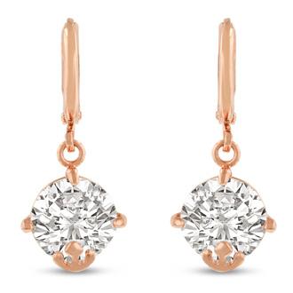 5 Carat Swarovski Elements Crystal Hoop Earrings In Rose Gold