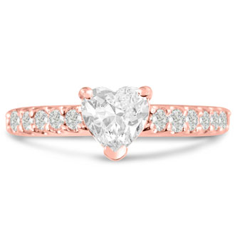 1 1/3ct Heart Shape Diamond Engagement Ring Crafted in 14 Karat Rose Gold
