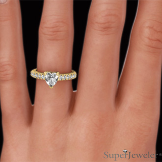 1 1/3ct Heart Shape Diamond Engagement Ring Crafted in 14 Karat Yellow Gold