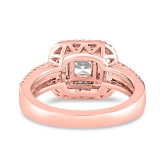 1 2/3 Carat Princess Cut Double Halo Diamond Engagement Ring in 14 Karat Rose Gold