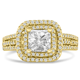 1 2/3 Carat Princess Cut Double Halo Diamond Engagement Ring in 14 Karat Yellow Gold