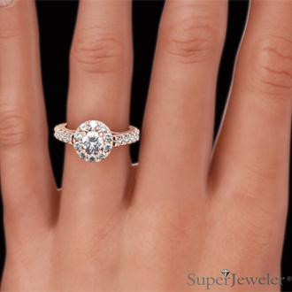 1 3/5 Carat Halo Diamond Engagement Ring in 14 Karat Rose Gold