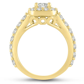 1 3/4 Carat Halo Diamond Engagement Ring in 14 Karat Yellow Gold