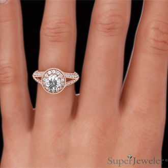 1 4/5ct Split Shank Halo Diamond Engagement Ring Crafted in 14 Karat Rose Gold
