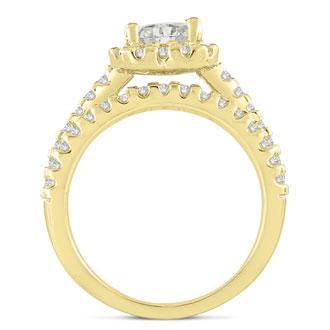 1 2/3 Carat Heart Halo Diamond Engagement Ring in 14 Karat Yellow Gold