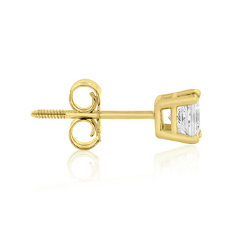 1/2ct Princess Diamond Stud Earrings in 14k Yellow Gold, H/I, SI2