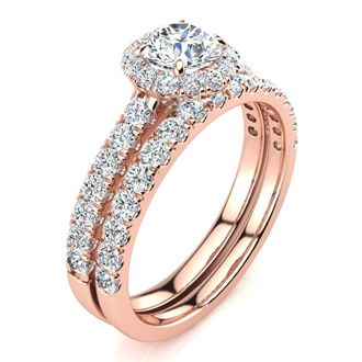 Gorgeous 1/2ct Pave Diamond Bridal Set, Round Center in 14k Rose Gold