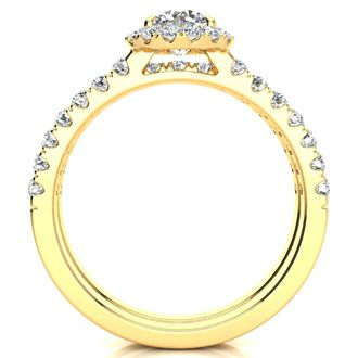 1/2 Carat Pave Halo Diamond Bridal Set in 14k Yellow Gold