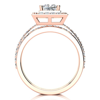 1 1/2 Carat Princess Cut Floating Pave Halo Diamond Bridal Set in 14k Rose Gold