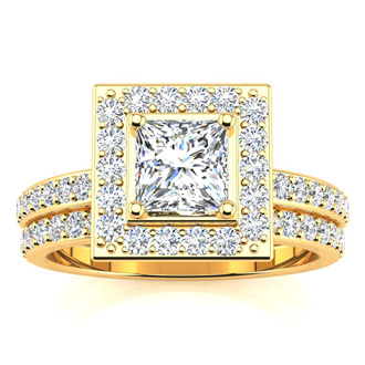 1 1/2 Carat Princess Cut Floating Pave Halo Diamond Bridal Set in 14k Yellow Gold