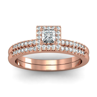 Gorgeous 1/2ct Pave Diamond Bridal Set, Princess Center in 14k RG
