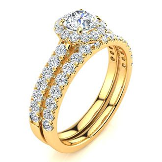 1 Carat Floating Pave Halo Diamond Bridal Set in 14k Yellow Gold