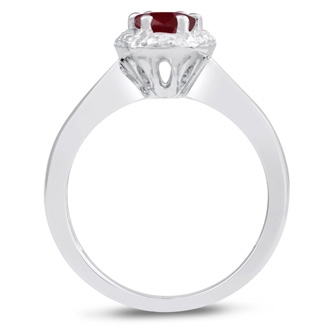 1 Carat Genuine Oval Shape Ruby and Diamond Ring In Sterling Silver