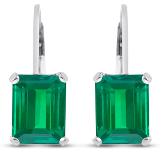 4 ½ Carat Emerald Cut Created Emerald Drop Earrings