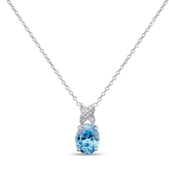 3.5ct Oval Blue Topaz and Diamond Necklace