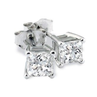 Platinum 3/4ct Princess Cut Diamond Stud Earrings, H/I, SI2/SI3