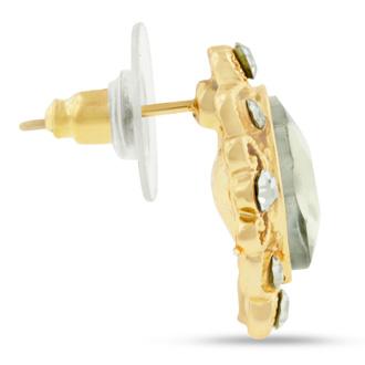 Champagne Colored Swarovski Elements Cushion Cut Stud Earrings, Pushbacks