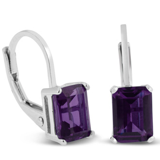 2ct Purple Amethyst Drop Earrings in Sterling Silver