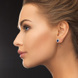 1 1/3 Carat Sapphire and Halo Diamond Stud Earrings In Sterling Silver