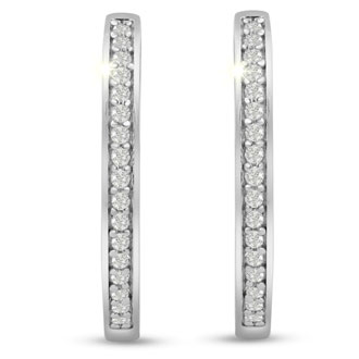 1/4ct Diamond Hoop Earrings In Sterling Silver. Very Popular Style!