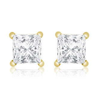 1ct Diamond Stud Earrings in 14k Yellow Gold, H/I, SI2/I1