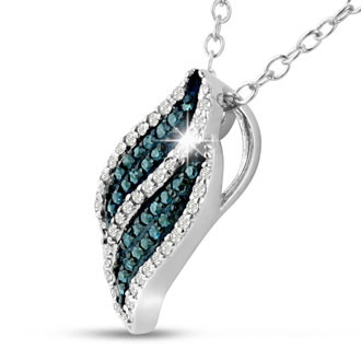 CLOSEOUT! 1/5ct Blue Diamond Swirl Pendant