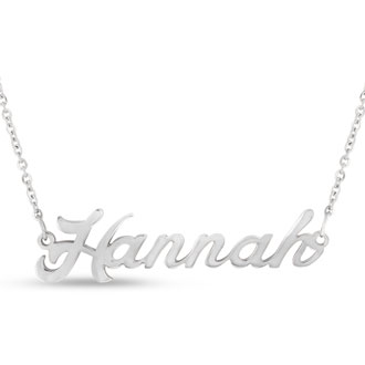 Hannah Nameplate Necklace In Silver