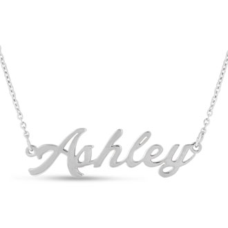 Ashley Nameplate Necklace In Silver